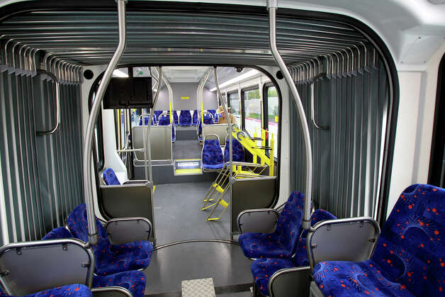 Interiors take a new look as articulated buses roll out of the new VIA transit station in the South Texas Medical Center on December 15, 2012. Photo: Tom Reel, San Antonio Express-News / ©2012 San Antono Express-News