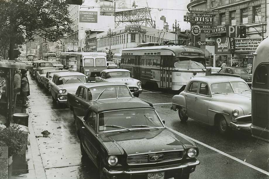 Market Street bustles in the mid-1960s, an era that holds special memories for those who were young then. Photo: Ken McLaughlin, The Chronicle