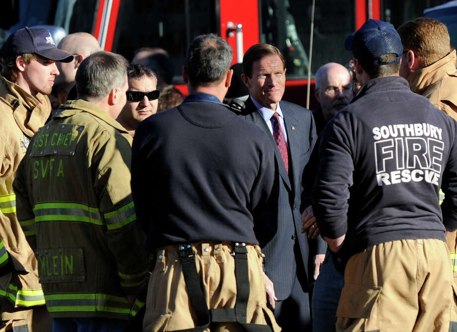 U.S. Senator Richard Blumenthal visited the firehouse in Sandy Hook Saturday, Dec. 15, 2012. 28 people including 20 children were killed when a gunman opened fire at the Sandy Hook Elementary School in Newtown, Conn. Friday. Photo: Carol Kaliff / The News-Times