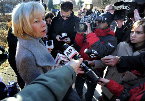 Newtown Schools Superintendent Janet Robinson addresses the press near the entrance to the Sandy Hook Elementary School in the Sandy Hook section of Newtown, Saturday, Dec. 15, 2012. Photo: Carol Kaliff / The News-Times