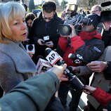 Newtown Schools Superintendent Janet Robinson addresses the press near the entrance to the Sandy Hook Elementary School in the Sandy Hook section of Newtown, Saturday, Dec. 15, 2012.