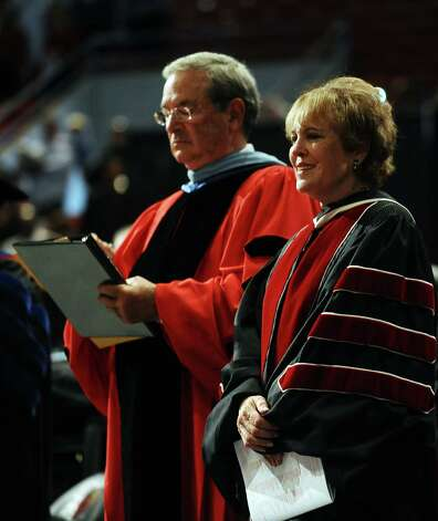 Lamar University conferred nearly 1,200 degrees on Saturday, December 15, 2012, during the fall commencement in the Montagne Center.  Dr. James Simmons, left, and Regina Rogers, right,  addressed the students during the program. Photo taken: Randy Edwards/The Enterprise