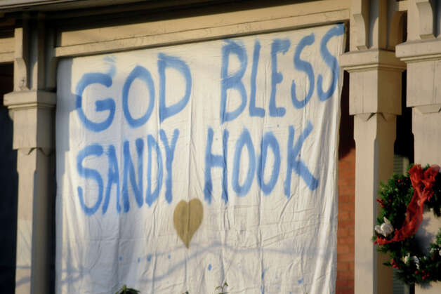 A sign in the Sandy Hook neighborhood of Newtown, Conn., Dec. 15th, 2012, the day after the mass shooting at Sandy Hook Elementary school on Friday. Photo: Ned Gerard / Connecticut Post