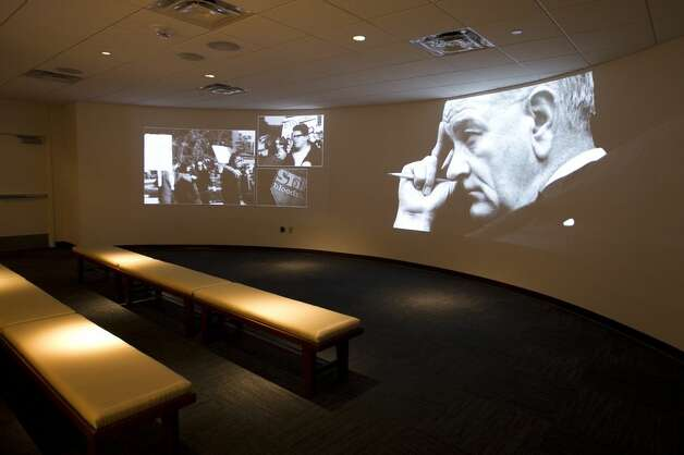 A new theater plays an introduction film for visitors on the third floor of the LBJ Presidential Library. Photo: JAY JANNER, AUSTIN AMERICAN-STATESMAN / © AUSTIN AMERICAN-STATESMAN