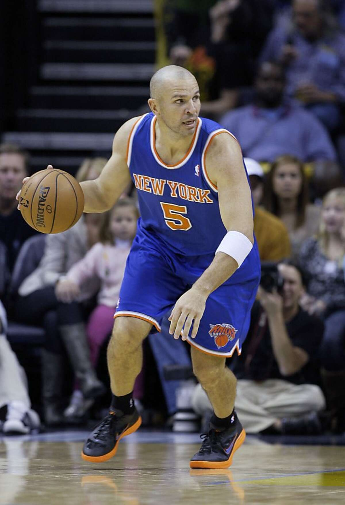 New York Knicks' Jason Kidd plays during the second half of an NBA basketball game against the Memphis Grizzlies in Memphis, Tenn., Friday, Nov. 16, 2012. The Memphis Grizzlies defeated the New York Knicks 105-95. (AP Photo/Danny Johnston)