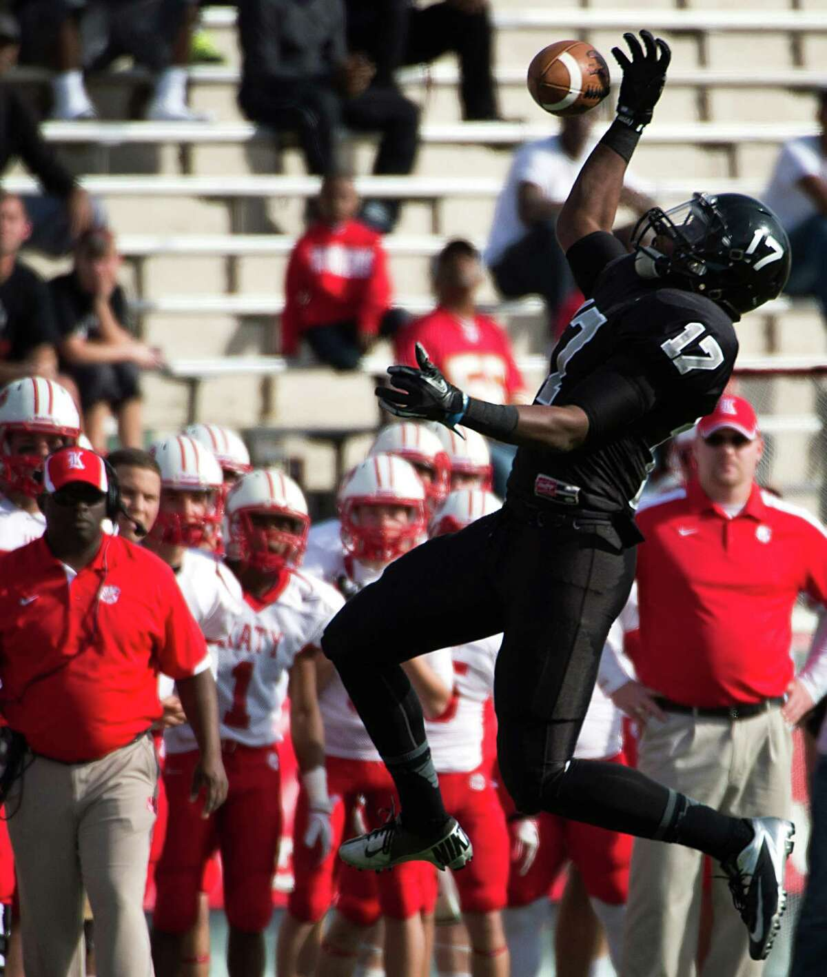 Cibolo Steele wide receiver Thaddeous Thompson (17) tries to make a one-handed catch against Katy during the first quarter in a Class 5A Division II state high school football semifinal game at Floyd Casey Stadium on Saturday, Dec. 15, 2012, in Waco. ( Smiley N. Pool / Houston Chronicle )