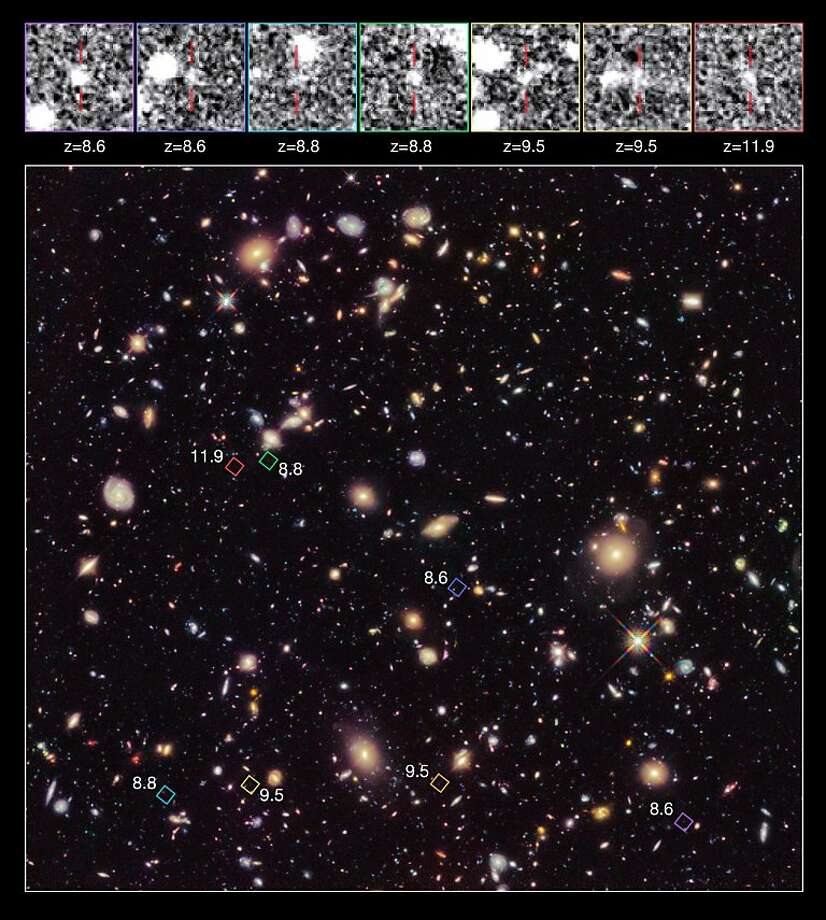 The oldest known galaxies in the universe are pinpointed in this image from the Hubble Telescope. Photo: R. Ellis (caltech), AFP/Getty Images