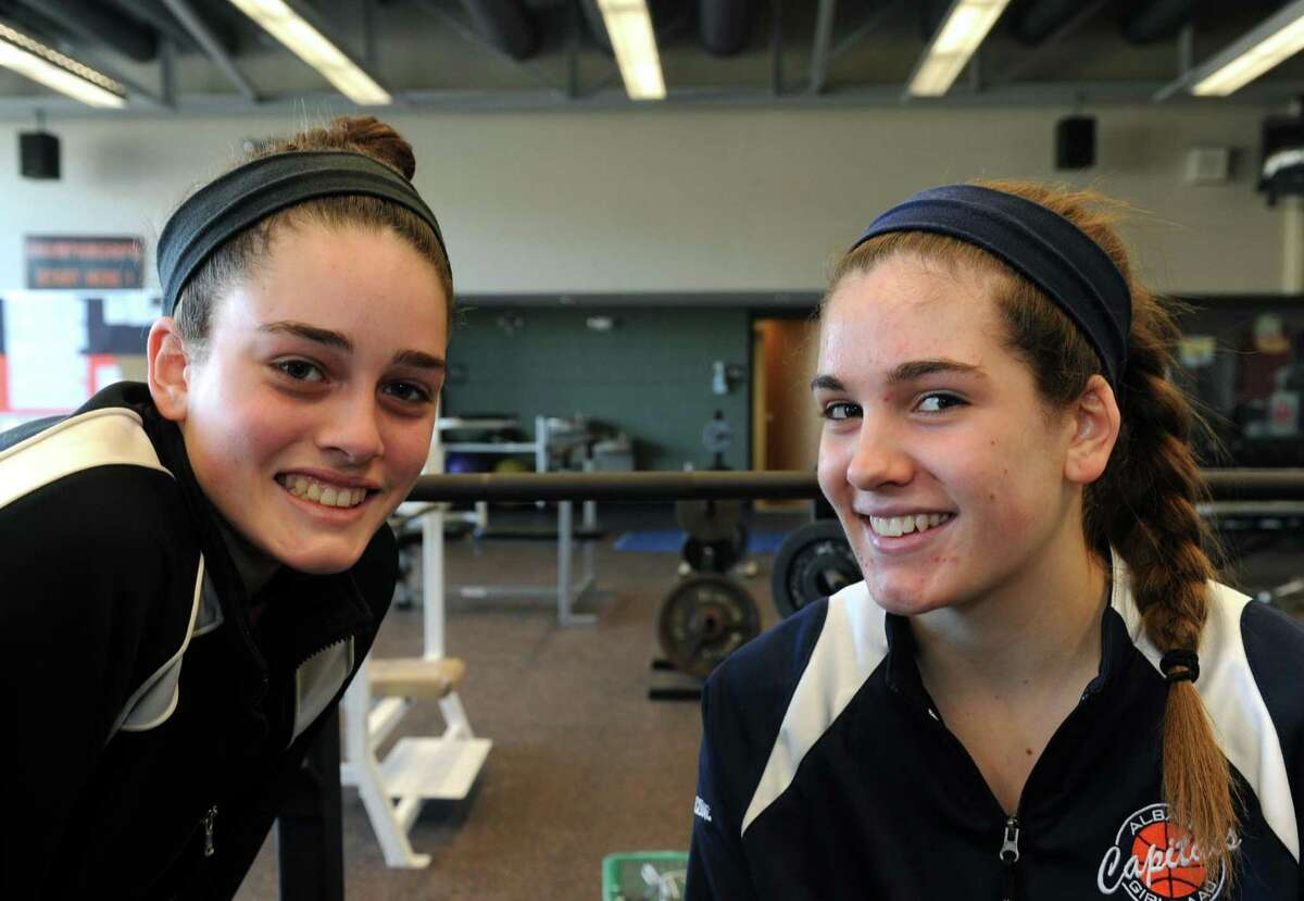 Bethlehem High School girl's basket ball players and sisters Jenna, left, and Gabby Giacone in Delmar, NY Saturday Dec. 15, 2012. (Michael P. Farrell/Times Union)