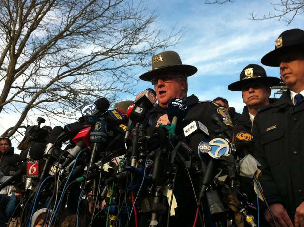 Connecticut State Police Lt. Paul Vance leads a press conference at Treadwell Park in Newtown, Conn. on Saturday Dec. 15, 2012. Photo: Michael Duffy / The News-Times