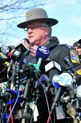 State Police spokesman J. Paul Vance speaks at a press conference about the mass shooting at Sandy Hook Elementary School Saturday, Dec. 15, 2012 in Newtown. Photo: Michael Duffy