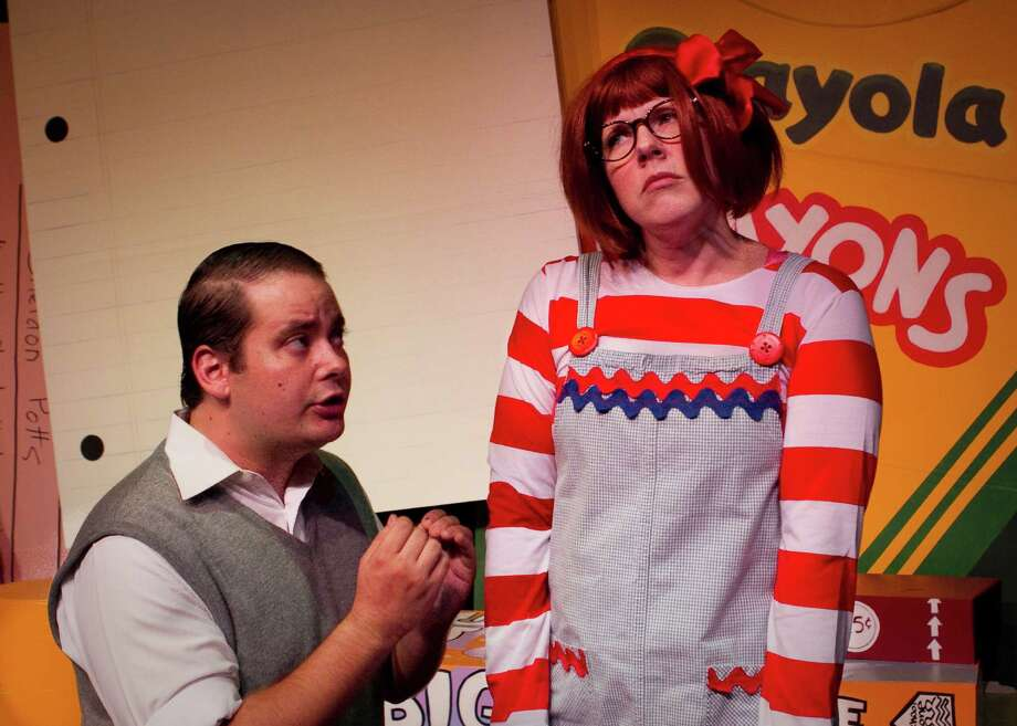 """Mr. Scary (Devin Collins, from left) works against the odds to try to teach Junie B. (Mollie Wicall) a lesson in Magik Theatre's """"Junie B. Jones: Jingle Bells, Batman Smells."""" Photo: Courtesy David Frank"""