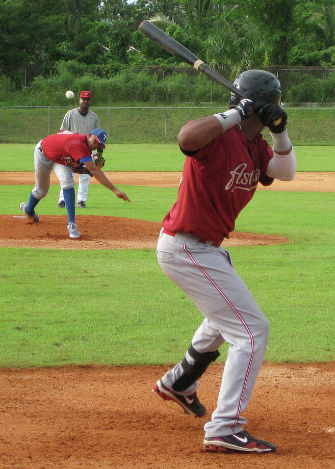 Amateur prospects play an exhibition game Monday at the Astros' Dominican Republic instructional academy.