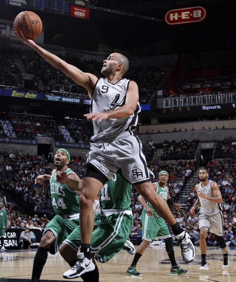 San Antonio Spurs' Tony Parker shoots against the Boston Celtics during first half action Saturday Dec. 15, 2012 at the AT&T Center. (Edward A. Ornelas / San Antonio Express-News)