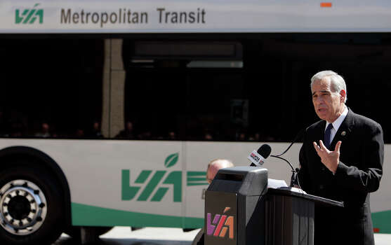 U.S. Rep. Charlie Gonzalez, D-San Antonio, announces an award of $6 million to VIA as part of the federal State of Good Repair Program and the Bus Livability Program at the VIA Administration offices on Oct. 21, 2011. Photo: San Antonio Express-News File Photo / mmiller@express-news.net
