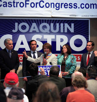 House Minority Leader Nancy Pelosi gestures to U.S. Rep. Charlie Gonzalez, D-San Antonio, as the pair endorse congressional candidate Joaquín Castro for Gonzalez's seat. State Sen. Leticia Van de Putte and Mayor Julian Castro look on at the breakfast rally for Joaquín at Avenida Guadalupe's El Progreso Hall on Feb. 18, 2012. Photo: J. Michael Short, For The San Antonio Express-News / SAN ANTONIO EXPRESS-NEWS