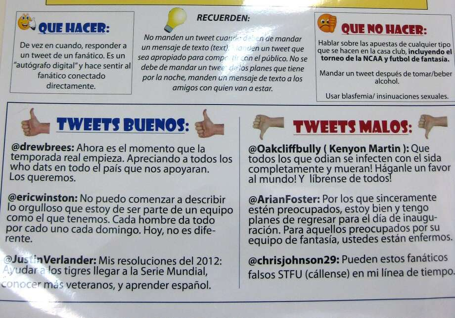 A list of Twitter rules, written in Spanish, posted inside Houston's Dominican Republic instructional academy in Guerra, Santo Domingo.  (Brian T. Smith/Houston Chronicle)