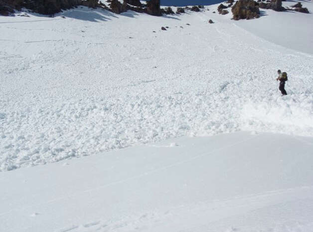 A cascade of snow below Green Butte at Mount Shasta (Mount Shasta Avalanche Center)