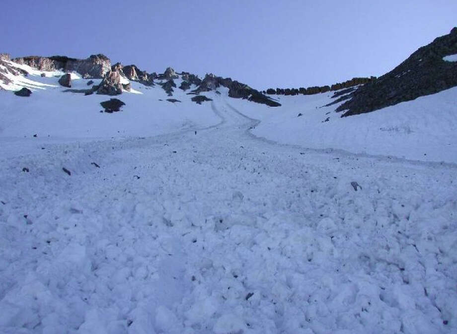 This avalanche started as a small slide from loose material just below a ridge, slow moving and yet becoming long, wide and powerful (Mount Shasta Avalanche Center)