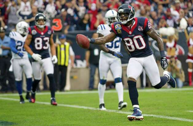 Houston Texans wide receiver Andre Johnson (80) easily gets intio the end zone against the Indianapolis Colts defense during the first quarter at Reliant Stadium on Sunday, Dec. 16, 2012, in Houston. Photo: Brett Coomer, Houston Chronicle / © 2012  Houston Chronicle