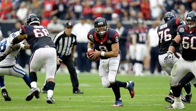 Houston Texans quarterback Matt Schaub (8) scrambles out of the pocket in the second quarter of an NFL football game against the Indianapolis Colts Sunday, Dec. 16, 2012, in Houston. (AP Photo/Eric Gay) Photo: Eric Gay, Associated Press / AP