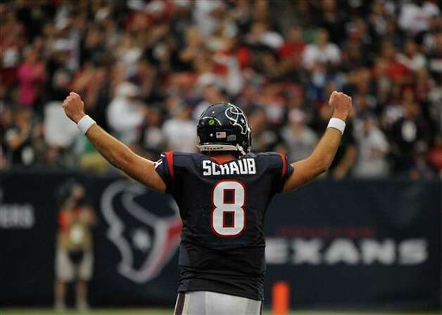Houston Texans' Matt Schaub reacts to a play in the fourth quarter of an NFL football game against the Indianapolis Colts, Sunday, Dec. 16, 2012, in Houston. (AP Photo/Dave Einsel) Photo: Dave Einsel, Associated Press / FR43584 AP