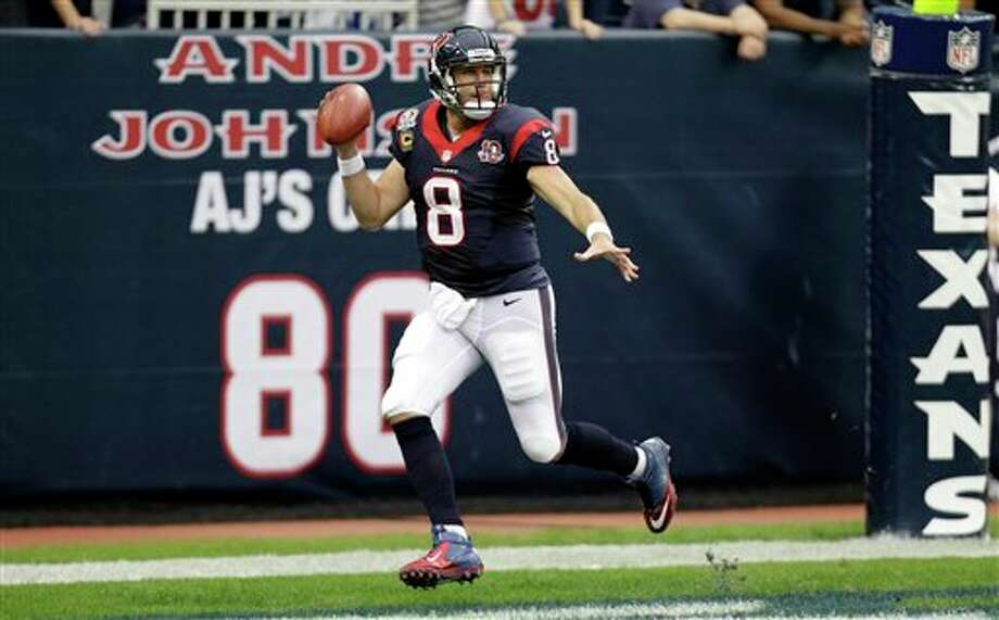 Houston Texans quarterback Matt Schaub (8) looks to pass in the second quarter of an NFL football game against the Indianapolis Colts Sunday, Dec. 16, 2012, in Houston. (AP Photo/Eric Gay) Photo: Eric Gay, Associated Press / AP