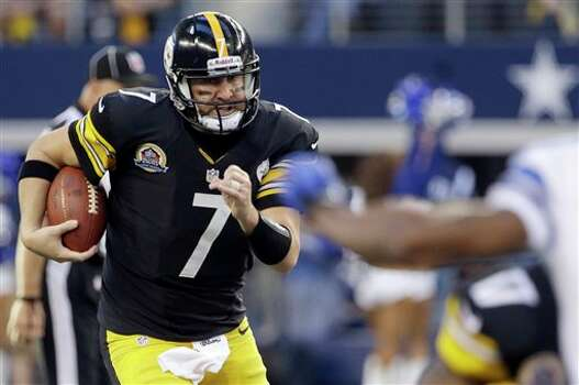 Pittsburgh Steelers quarterback Ben Roethlisberger (7) runs the ball against the Dallas Cowboys during the first half of an NFL football game Sunday, Dec. 16, 2012 in Arlington, Texas. (AP Photo/Tony Gutierrez) Photo: Tony Gutierrez, Associated Press / AP