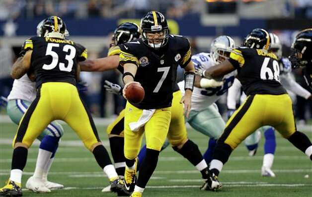 Pittsburgh Steelers quarterback Ben Roethlisberger (7) hands off the ball against the Dallas Cowboys during the first half of an NFL football game Sunday, Dec. 16, 2012 in Arlington, Texas. (AP Photo/LM Otero) Photo: LM Otero, Associated Press / AP