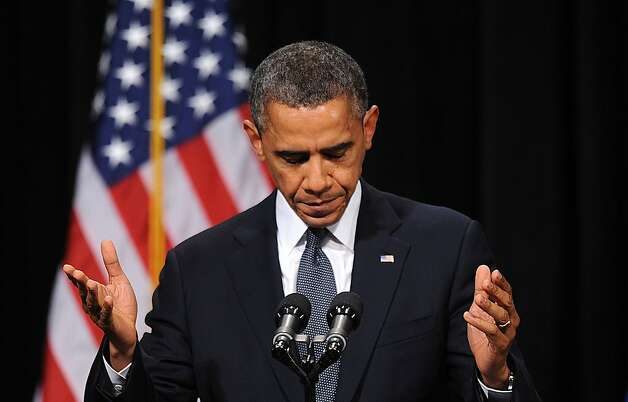 U.S. President Barack Obama speaks at an interfaith vigil for the shooting victims from Sandy Hook Elementary School on December 16, 2012 at Newtown High School in Newtown, Connecticut. Photo: Pool, Getty Images
