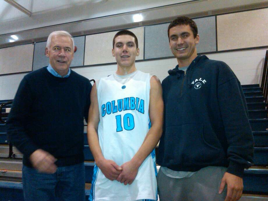 Bill Romer, Conrad Zampier and Alex Zampier after Conrad's 43-point game for Columbia that broke Alex's school record. Alex broke Bill Romer's record, and Romer broke his brother's record. (Greg Zampier photo)