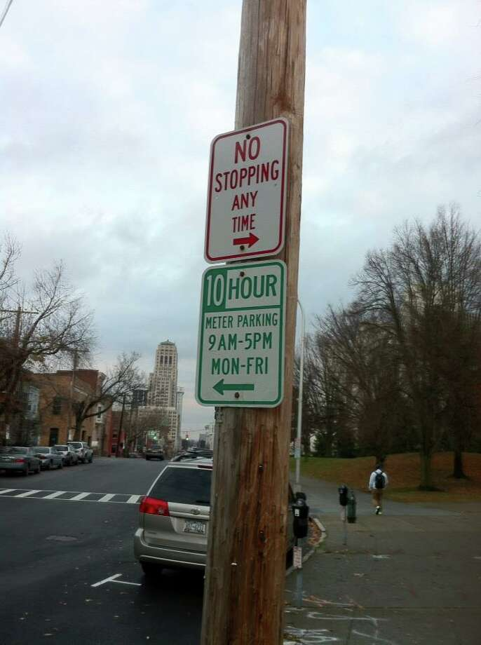 An alert reader noticed this contradictory sign. The city of Albany says it will fix the mistake.