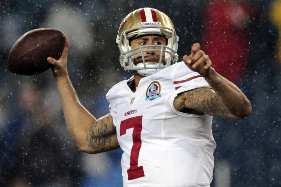 San Francisco 49ers quarterback Colin Kaepernick (7) warms up before an NFL football game against the New England Patriots in Foxborough, Mass., Sunday, Dec. 16, 2012.  (Steven Senne / Associated Press)