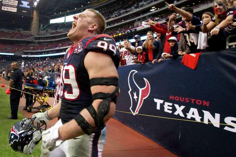 J.J. Watt celebrates the Texans win over the Colts. Photo: Brett Coomer, Houston Chronicle / © 2012  Houston Chronicle