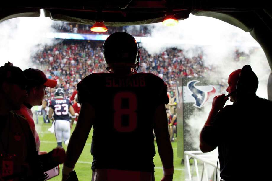 Texans quarterback Matt Schaub stands in the tunnel waiting to be introduced before the game. Photo: Brett Coomer, Houston Chronicle / © 2012  Houston Chronicle