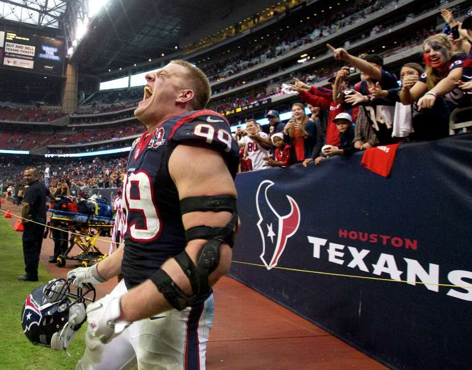 Texans defensive end J.J. Watt had plenty to shout about on Sunday. He reached double digits in tackles, moved closer to the NFL single-season sack record and helped his team to its second AFC South title in as many years. Photo: Brett Coomer, Staff / © 2012  Houston Chronicle