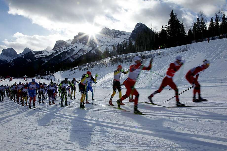 Racers make their way up a hill during the men's World Cup 30-kilometer Skiathlon in Canmore, Alberta, Sunday, Dec. 16, 2012. (AP Photo/The Canada Press, Jeff McIntosh) Photo: Jeff McIntosh, Associated Press