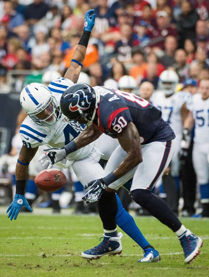 Texans wide receiver Andre Johnson (80) makes a catch as Colts free safety Antoine Bethea (41) defends during the first quarter. (Smiley N. Pool / Houston Chronicle)