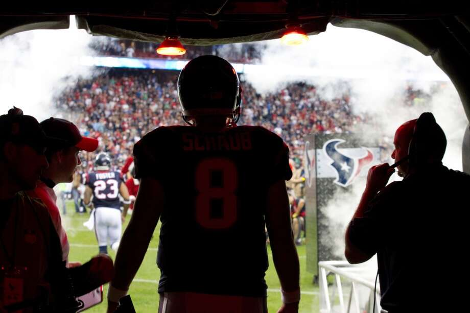 Texans quarterback Matt Schaub stands in the tunnel waiting to be introduced before the game. (Brett Coomer / Houston Chronicle)