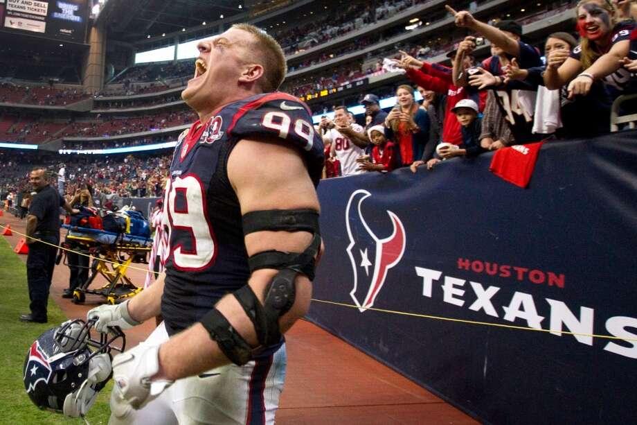 J.J. Watt celebrates the Texans win over the Colts. (Brett Coomer / Houston Chronicle)