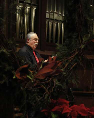 Gordon Jones, a tenor with the Trinity Episcopal Church in Newtown, was one of the soloists Sunday during the Messiah Sing at First Church Congregational. Fairfield CT 12/16/12 Photo: Meg Barone / Fairfield Citizen freelance