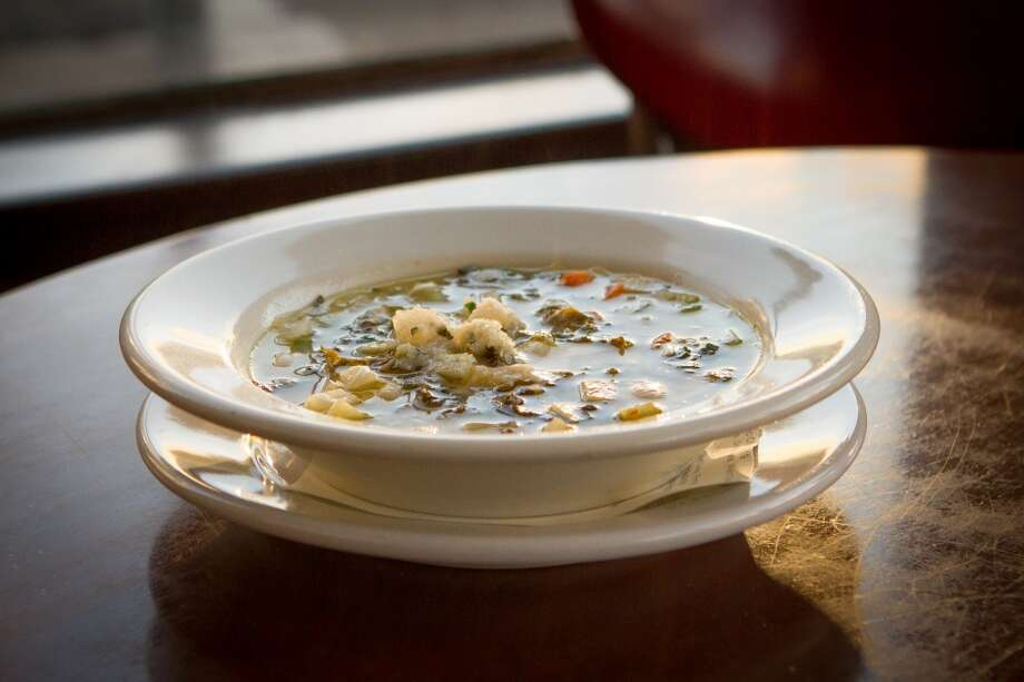 Butter bean and kale soup ($8) is ideal for a damp evening, hearty, with great texture and a generous sprinkling of Parmesan cheese... (Special to the Chronicle)