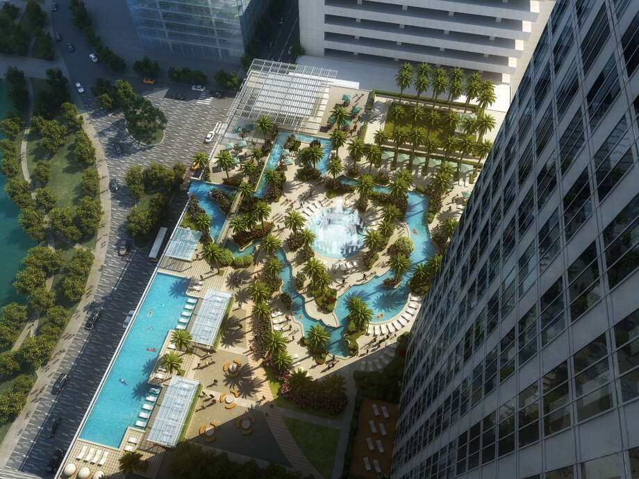 An amenity deck will be built atop the 40,000 square foot grand ballroom, featuring a lazy river in the shape of Texas called the Texas Sky River. (Images courtesy of Morris Architects)