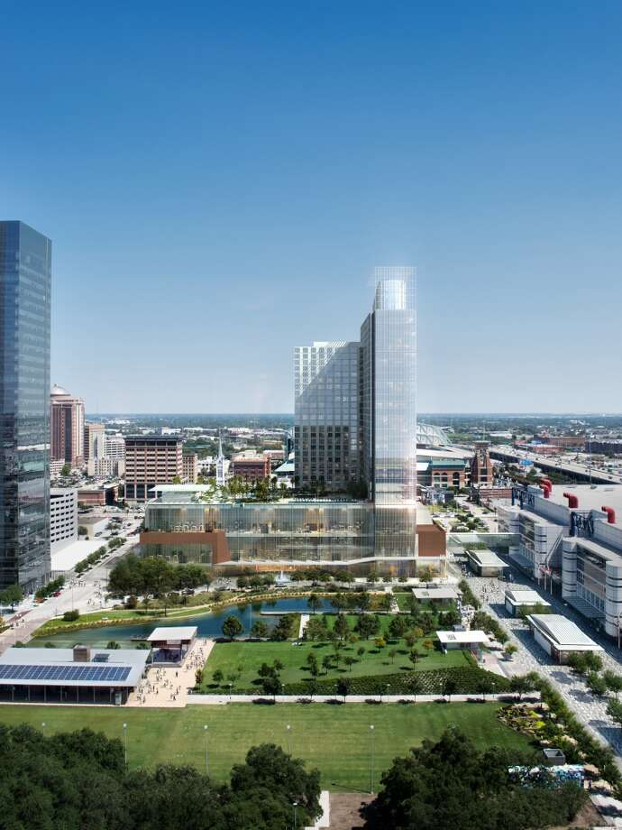 A view of the proposed 1,000-room hotel from the Hilton Americas.