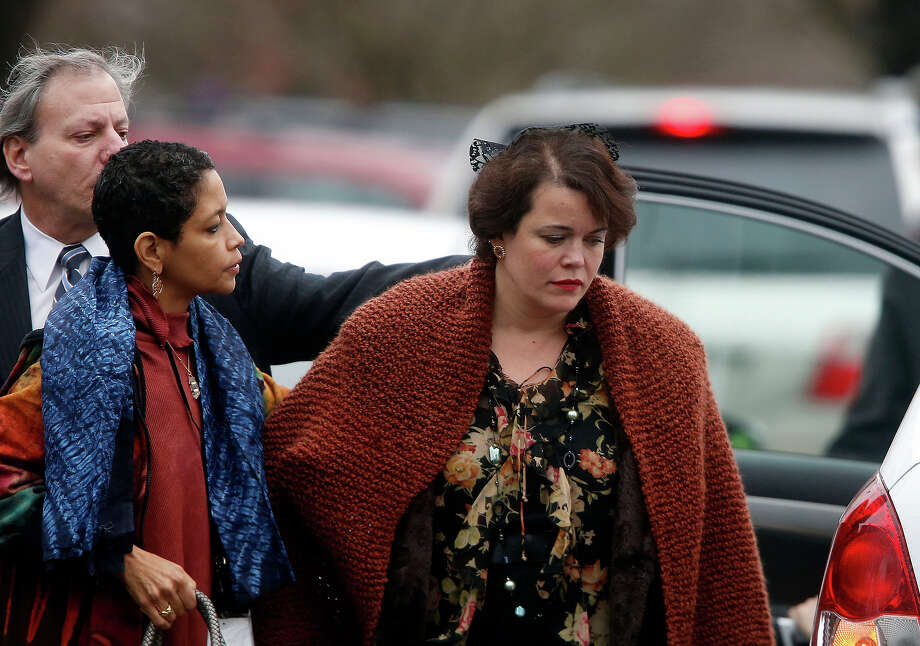 Veronika Pozner, right, arrives at a funeral service for her son, 6-year-old Noah Pozner, Monday, Dec. 17, 2012, in Fairfield, Conn.  Pozner was killed when a gunman walked into Sandy Hook Elementary School in Newtown Friday and opened fire, killing 26 people, including 20 children. Photo: AP