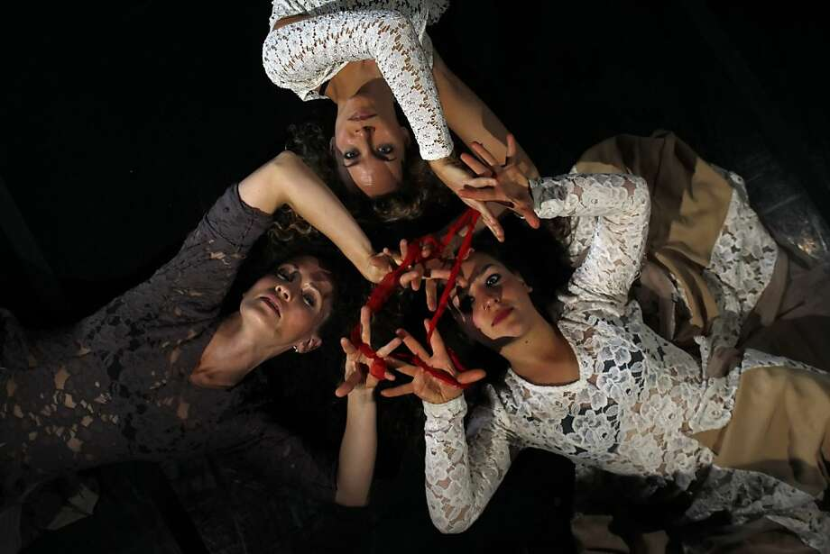 """(Clockwise from top) Tina Banchero, Frederika Keefer and Sarah Bush of Krissy Keefer's Dance Brigade perform in """"Voluspa."""" Photo: Carlos Avila Gonzalez, The Chronicle"""