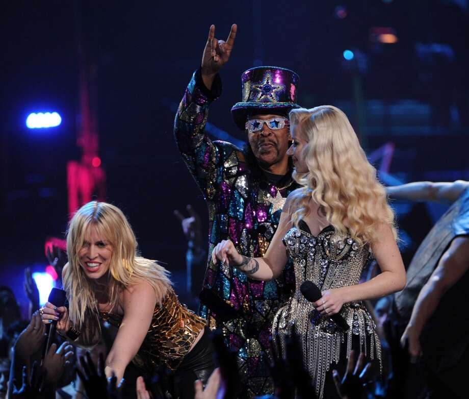 (L-R) Singer Natasha Bedingfield, bassist Bootsy Collins and singer Iggy Azalea perform onstage during VH1 Divas 2012 at The Shrine Auditorium on December 16, 2012 in Los Angeles, California.  (Photo by Kevin Winter/Getty Images) (Getty Images)