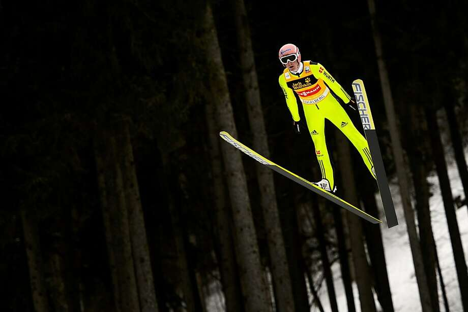 Herr in the air: Severin Freund of Germany soars to a fourth-place finish in the ski jumping FIS World Cup competition in Engelberg, Switzerland. Photo: Fabrice Coffrini, AFP/Getty Images