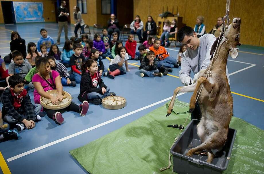 "Today for Show and Tell, Mr. Jackson will skin road kill: Harborview Elementary School students watch teacher Josh Jackson ""process"" a deer in Juneau, Alaska. The doe, hit by a vehicle last summer, was kept frozen by the Department of Fish & Game for the educational experience. Photo: Michael Penn, Associated Press"