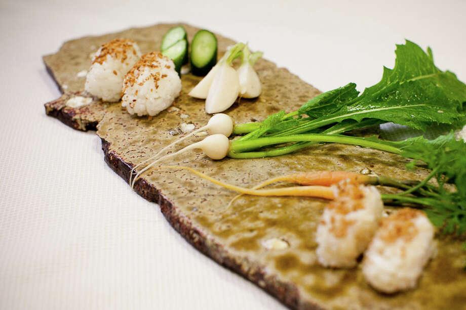 Canape: Chef Mori's own farmed brown and white rice