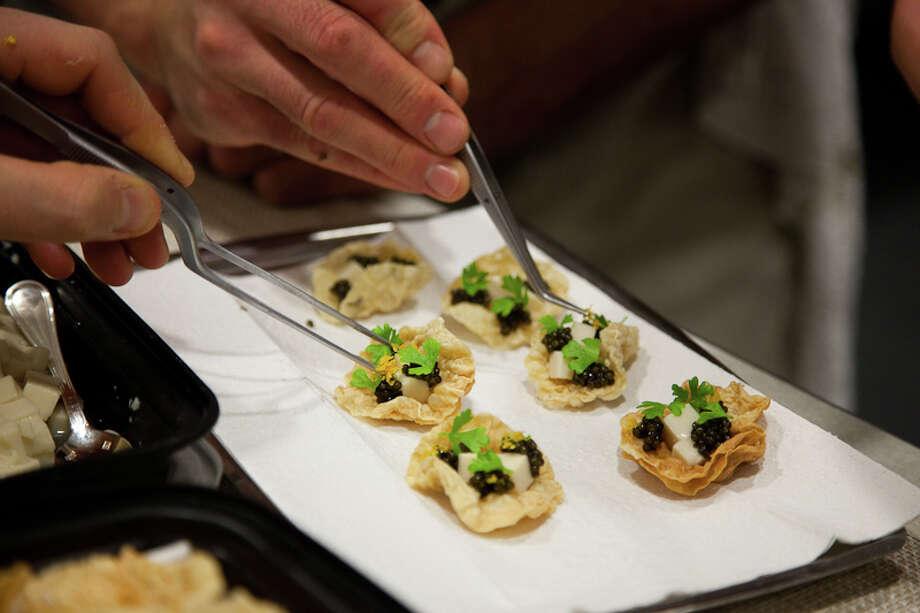 Canape: Crispy yuba, fresh tofu, osetra caviar (Creel Films)